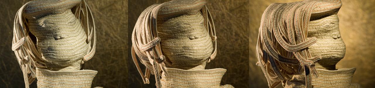 """Bertrand Alberge - plasticien - sculpture de coton - """"visages"""""""